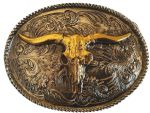 24k Gold and Silver Rodeo Steer Belt Buckle with display stand. Code SK1